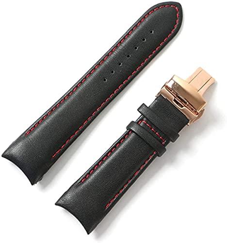 QZMX Correa de reloj de cuero con extremo curvado, correa de reloj para hombre, correa de 22 mm/23 mm/24 mm (color: negro rojo oro rosa, tamaño: 23 mm)