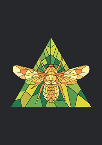 Notizbuch A5 dotted, gepunktet, punktiert mit Softcover Design: Biene Dreieck Polygon Zeichnung Honig Bienen Mandala: 120 dotted (Punktgitter) DIN A5 Seiten