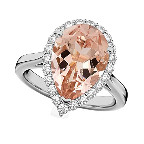 Shine Jewel 12X8 MM Pera Morganita Solitario Acentos Anillo de Compromiso de Plata 925 (26)