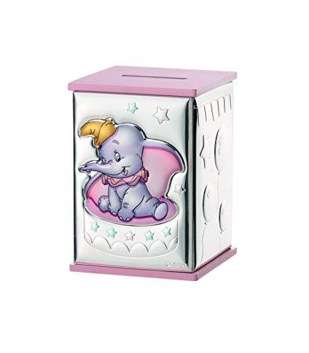 Hucha infantil dumbo rosa 8x8x11.5 personalizado en plata bilaminada