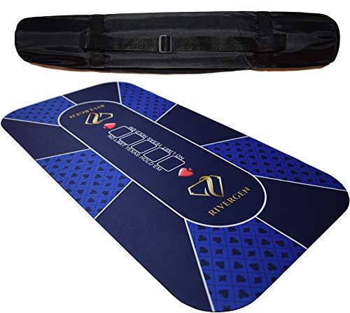 Rivergen Alfombra de póker 120 x 60 cm (Azul) Espesor 3 mm | Bolsa de Transporte incluida | Tapete de Póker | Alfombra de póquer Texas Holdem | Tablero de póquer | Antideslizante