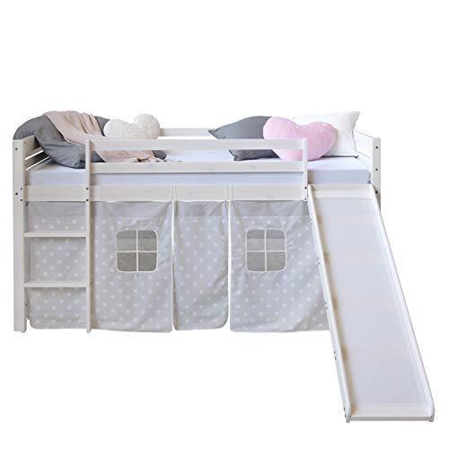 Homestyle4u 1884, Hochbett Weiß 90x200 Kinder Mit Rutsche Leiter Sternen Vorhang, Holz