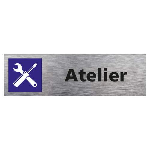 Sticker de Porte Atelier - Aspect Aluminium Brossé - Dimensions 170 x 50 mm