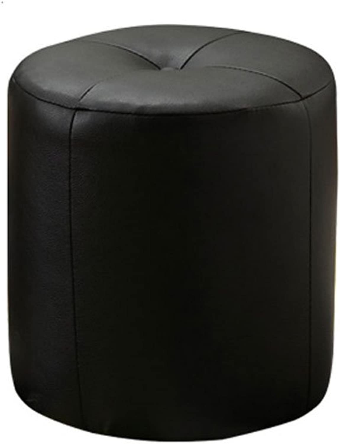 Change shoes Stool Leather Stool Living Room Solid Wood Stool 32 × 32cm (color   Black)