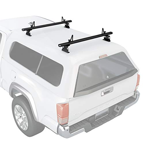 "AA Products Inc. AA-Racks Model ADX32-C Aluminum 2 Bar (60"") Universal Drilling Truck Camper Roof Rack with Ladder Stopper Sandy Black"