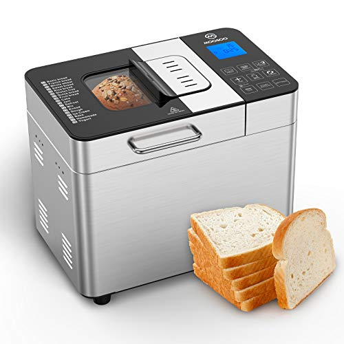 MOOSOO Bread Maker with Automatic Fruit Dispenser, Stainless Steel Bread Machine 2LB 18-in-1 Digital Breadmaker with DIY Home Made Function, 8 Deluxe Accessory kits