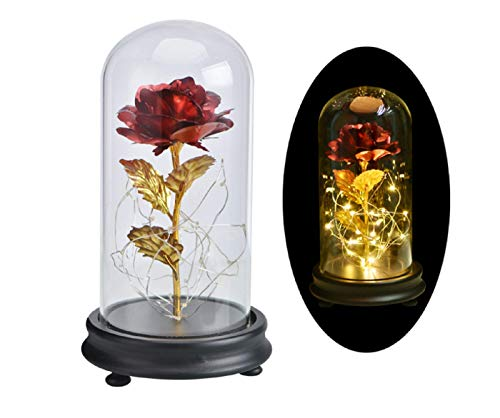 Leeko 24K Gold Plating Rose Flower, Gold Dipped Rose Gift in Glass Dome with LED String Lights, Forever Flowers for Wedding,Valentine's Day, Anniversary, Birthday Creative Gifts (Red)