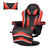 YODOLLA Gaming Chair Recliner Racing Chair with Vibration Massage Function, Ergonomic Adjustable Backrest and Footrest Swivel Faux Leather Computer Office Chair with Cup Holder and Side Pocket, Red