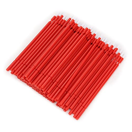 Dental Micro Applicator Brush, Non-Absorbent Fibers Dental Micro Brush Micro with Bendable Portion Micro Applicators Brushes for Makeup Beauty Dental Brush(red)
