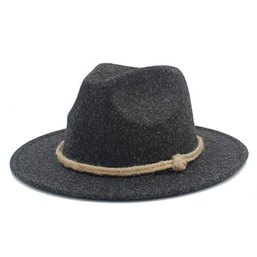 CHENGWJ Fedoras Cap mannen wol dames heren Wide Brim Fedora hoed voor Laday Cashmere Jazz Church Cap Gentleman Panama Sombrero cilinder henneptouw cilinder
