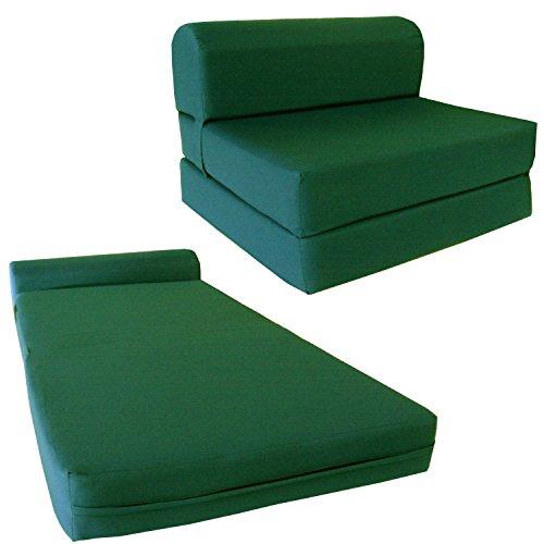 Chair Folding Foam Bed, Studio Sofa Guest Folded Foam Mattress (6' x 24' x 70', Hunter Green)