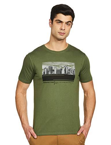 Van Heusen Men's Printed Slim fit T-Shirt (VDKCESLFQ11229_Green XL)
