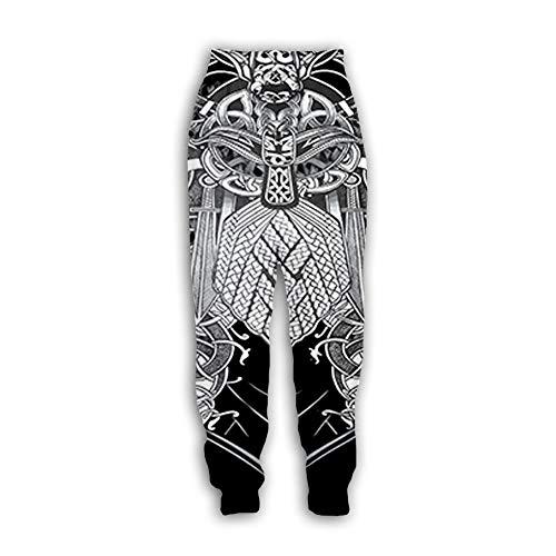 Herren/Damen Jogginghose - Kreative Wikinger Symbol Muster Jogger Loose Fit Casual Sport Jogginghose
