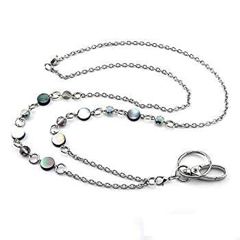 LUXIANDA Beautiful ID Necklaces ID Balled Beads Lanyards for Keys ID Badge Holder Stainless Steel Chain Birthday Gifts Women