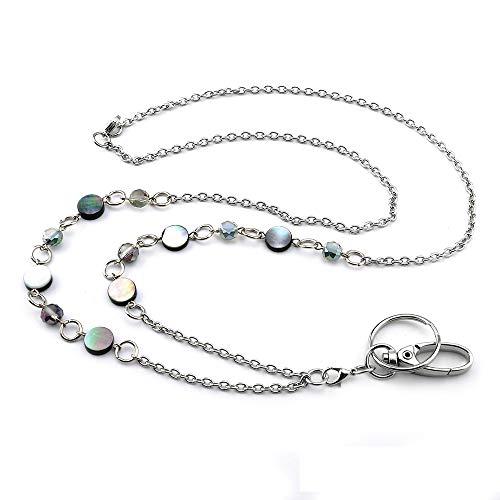 LUXIANDA Beautiful ID Necklaces ID Balled Beads Lanyards for Keys ID Badge Holder Stainless Steel Chain, Birthday Gifts Women