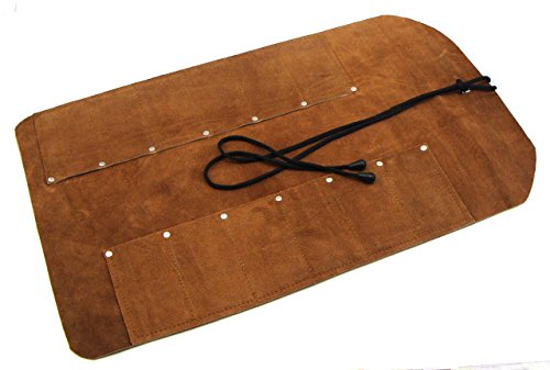 12 Pocket Suede Leather Tool Roll for Woodcarving Knives and Other Smaller Tools