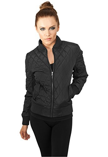 Urban Classics TB806 Ladies Diamond Quilt Nylon Jacket Regular Fit Woman Size - Black, Polyester, XL
