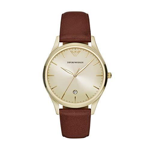 Emporio Armani Herren Uhr 3-Zeiger-Werk Datum Leder braun, AR11312