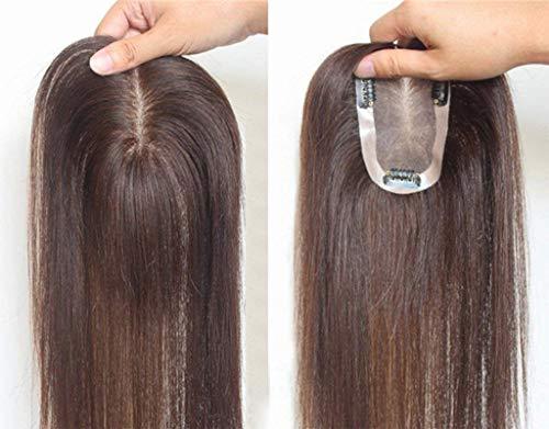 Toupee à Pince Cheveux Brésilienne Cheveux à clips Remplacement Supérieure Lace Topper pour les Femmes avec Cheveux Clairsemée et Blanc 7 * 11CM 15CM Brun Foncé
