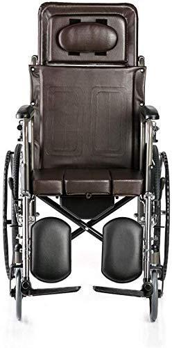 Busirsiz Silla de ruedas de acero, silla de ruedas plegable, rueda delantera manual, rueda delantera giratoria de PVC, con mesa extraíble para personas mayores y personas necesitadas