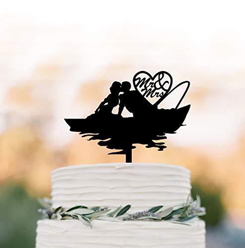 Tortenaufsatz für Hochzeitstorte, Fischer, Fischer, für Paare, Küssen, Hochzeitstorte, Kuchendekoration, Mr. and Mrs, Kuchenaufsatz, Angeln