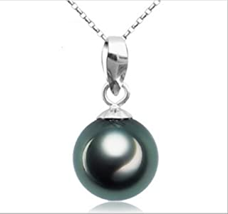 925 Sterling Silver Tahitian Culture Freshwater Cultured Pearl Pendant Necklace Black Pearl Pendant Necklace 9-10 mm Round Sterling Silver Jewelry Female Models 18