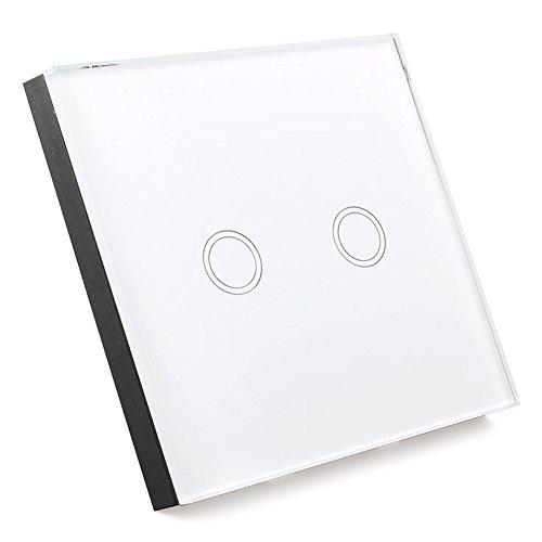 Interruptor de pantalla tactil - SODIAL(R) Interruptor de luz con Interruptor de pared de pantalla tactil de vidrio de control remoto 2 via blanco interruptor