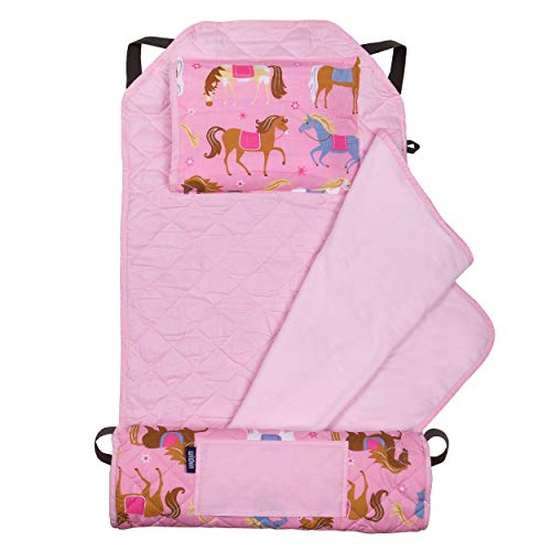 Wildkin Kids Modern Nap Mat with Pillow for Toddler Boys & Girls, Ideal for Daycare & Preschool, Features Elastic Corner Straps, Cotton Blend Materials Nap Mat for Kids, BPA-free (Horses)