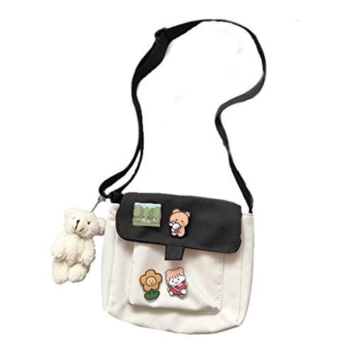 MENGSHI Bolsas de compras para mujer Sweet Kawaii impreso de lona para ocio diario, bolso de hombro cruzado elegante y práctico