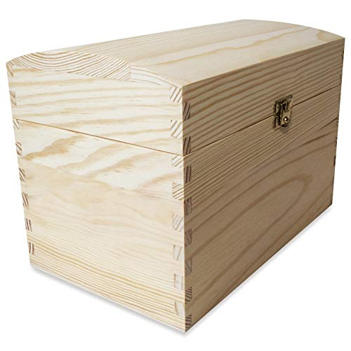 Creative Deco Cofre Caja Madera   25 x 15 x 17 cm   con Cierre de Metal y Tapa Redondeada   Decoración Decoupage Almacenaje de Documentos Objetos de Valor Juguetes