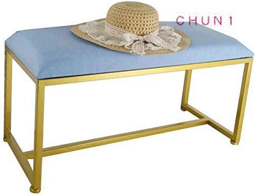 CHU N1 Schmiedeeisen Fußbank, Stuhl Compact Eintrag Schuhmöbel Kind Erwachsene Linen Gepolsterter Home120cm × 35cm × 40cm (L × B × H) 125 (Color : B, Size : 60cm)