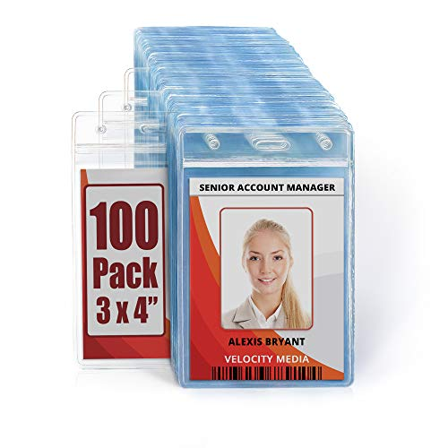 MIFFLIN Large (L) Vertical ID Badge Holders (Clear, 3x4 inch, 100 Pack), Plastic Nametag Covers with Zipper, Name Tag Holder