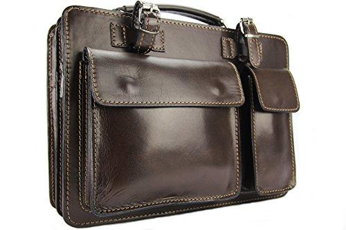 Business- und Laptoptaschen Italienische Luxus Aktentasche M (Mokka)