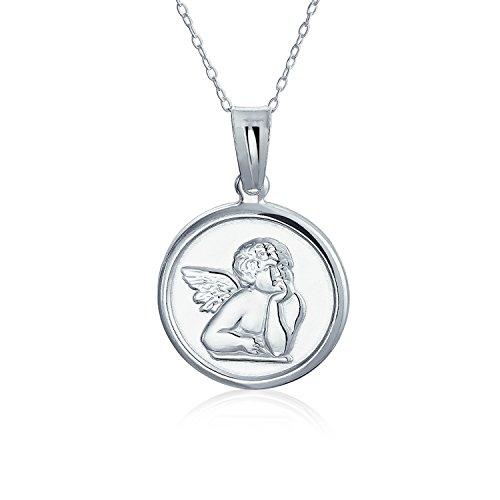 Medalla de disco redondo religioso Ángel querubín de la guarda collar colgante para las mujeres para adolescentes 925 plata de ley