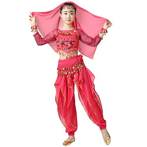 Magogo Bauchtänzerin Kostüm Outfit 6pcs Kit für Mädchen, Kinder Arabian Princess Indian Dance Chiffon Kleidung Anzug (L, Rose Rot)