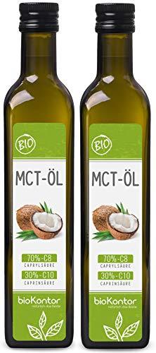 MCT Öl aus 100% Bio-Kokosöl | Premium Qualität | 70% Caprylsäure C8 und 30% Caprinsäure C10 | rein mechanisch hergestellt - bioKontor - 2x 500ml
