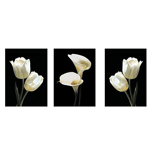 ZSooner Blumen-Leinwandbild, 3 Paneele, rahmenlos, weiße Tulpe & Calla-Lilie, HD-Bild, Kunstdruck auf Leinwand für Wohnzimmer Wanddekoration