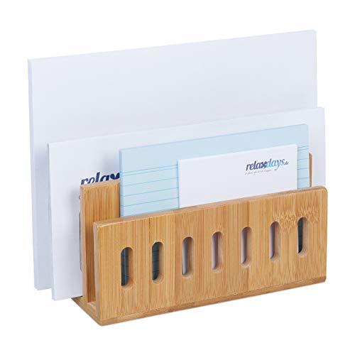 Relaxdays Dokumentenhalter Bambus, 3 Fächer, praktischer Briefständer, fürs Büro, Briefhalter, HBT: 13x18x8 cm, Natur