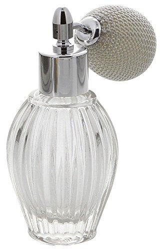 Tisch-Zerstäuber für Parfüm, Glas-Flacon, Kosmetex Pumpzerstäuber, silber mit Ballpumpe, 35 ml Ballpumpe silber