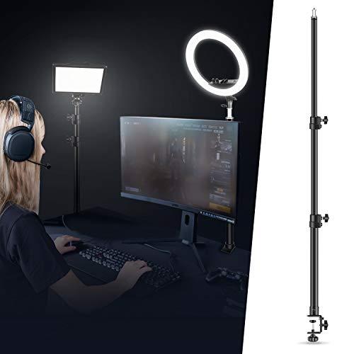 Neewer Tisch Lichtstativ Stativklammer mit 1/4 Zoll Schraube für Ringlicht und LED Licht, Aluminiumlegierung, 5kg Tragfähigkeit, einstellbar 55-120cm für Live-Streaming, Videoaufnahmen
