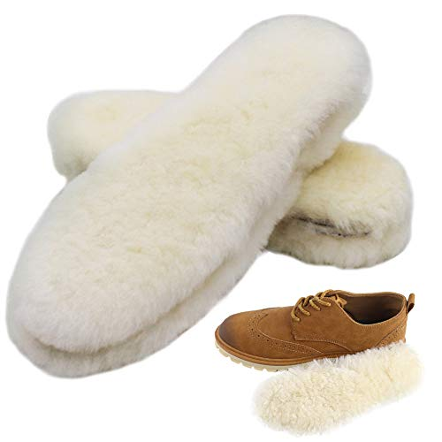Bacophy 2 Pairs Genuine Thick Sheepskin Fleece Insoles for Women, Premium Warm Fluffy Wool Replacement Cozy Breathable Inner Soles for Shoes Boots Slippers Women Size 8