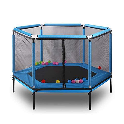 QHWJ Niños Trampolín Adulto, Cubierta Plegable Deportes trampolín con recinto de la Seguridad, el Equipo casero Gimnasio, jardín al Aire Libre Juguetes,Azul