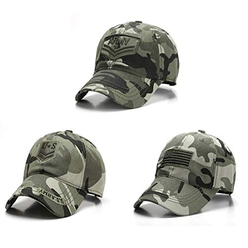 SINCSEFK Men's Army Baseball Cap Military American Flag Dad Hat Adjustable for Outdoor Activities, Sport, Daily Wearing Camouflage