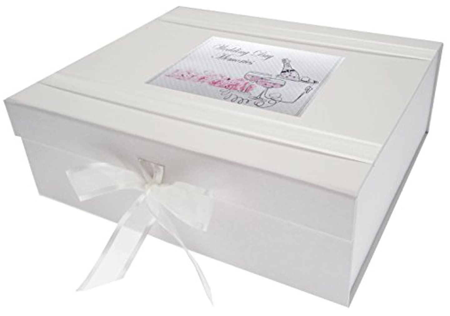 WHITE COTTON CARDS Wedding Day Memories, Large Keepsake Box, Champagne and Flowers. White, 27.2 x 32 x 11 cm