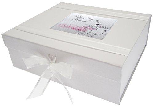 White Cotton Cards Souvenirs de Mariage, Grande boîte à Souvenirs, Champagne et Fleurs, Durable, Tableau, Blanc, 27.2 x 32 x 11 cm