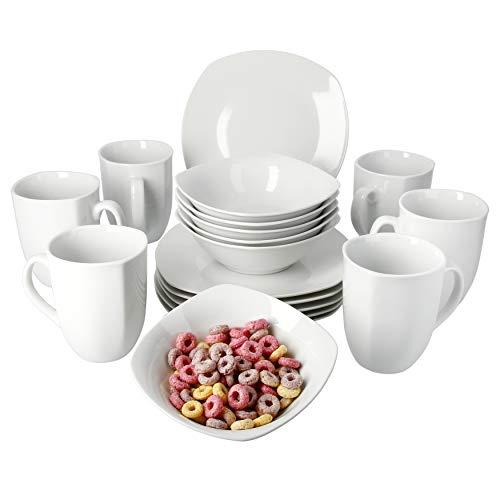 VAN WELL Frühstücksset 18tlg. Lilli für 6 Personen mit 6 Tellern + 6 Bechern + Müslischalen