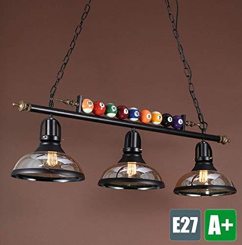 YLLN Industrie Kronleuchter Pendelleuchte Glas Lampenschirm Verstellbare Aufhängung Billardtisch Hängende Licht Metall Deckenleuchte Einzigartige Billard Dekor Rustikale Bar Esszimmer, 3 * Lampe