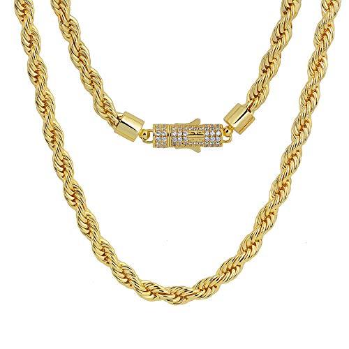 KRKC&CO 6mm Kordelkette Herren Halskette, 14K Gold Vergoldete Messing Rope Chain mit Iced Out Verschluss, 5A CZ Zirconia Länge 45-61cm, Hip Hop Goldene Kette für Herren Damen Jungen(14K Gold, 45,7cm)