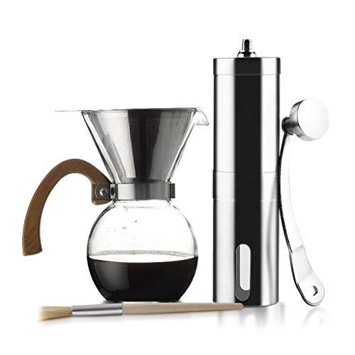 Manual Coffee Grinder -Pourer Cafetera Pitcher Conjunto Verter sobre Cafetera Brewer juego de café de la máquina 250/400/650 ml (Color: A) Haike (Color: C) WTZ012 (Color : B)