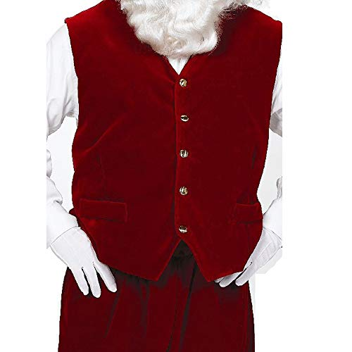 Santa Velvet Vest ONLY Size 50-60 Halco Claus Gold Buttons Burgundy Satin Lined Adjustable Buckle Pockets Bundle Santa Guide